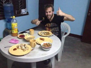 First dinner at the apartment - Momos!